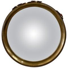 Rare Brass and Stitched Leather Strap Convex Mirror