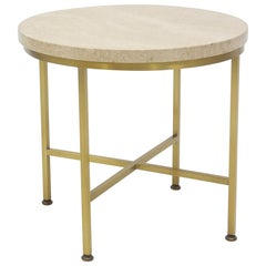 Rare Brass and Travertine Cigarette Table by Paul McCobb