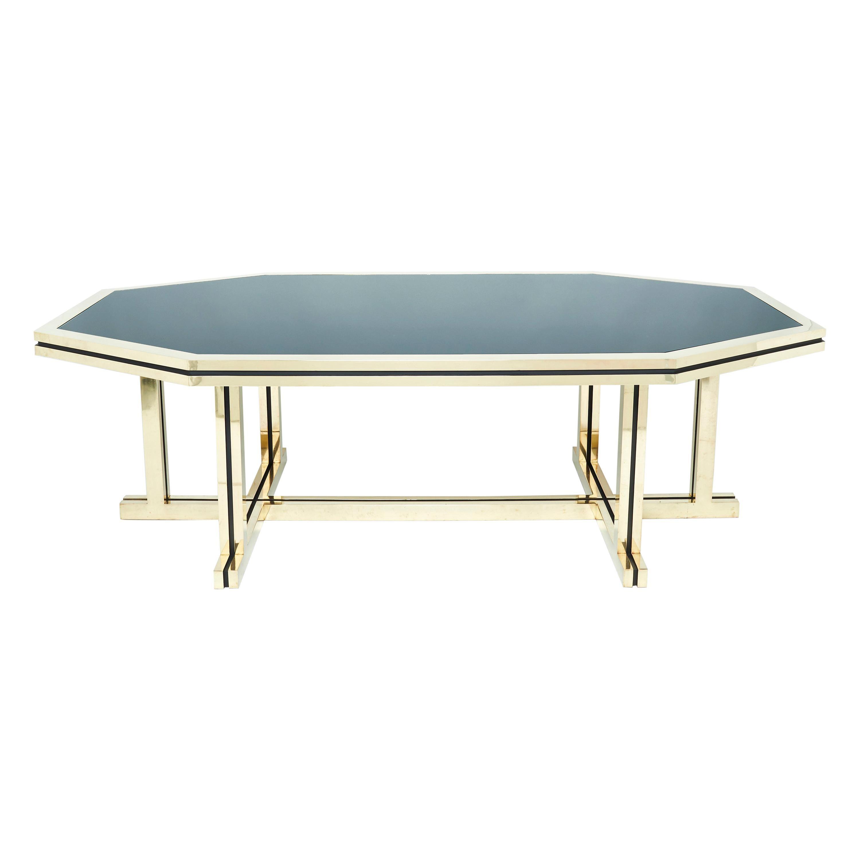 Rare Brass Black Opaline Glass Maison Jansen Dining Table, 1970s