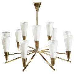 Rare Brass Ceiling Lamp, Italy, 1960s