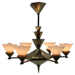 Rare Brass Chandelier in Cubist Style by Franta Anyz, 1920s