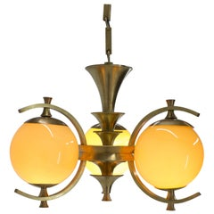 Rare Brass Chandelier in Rondocubistic Style, 1920s