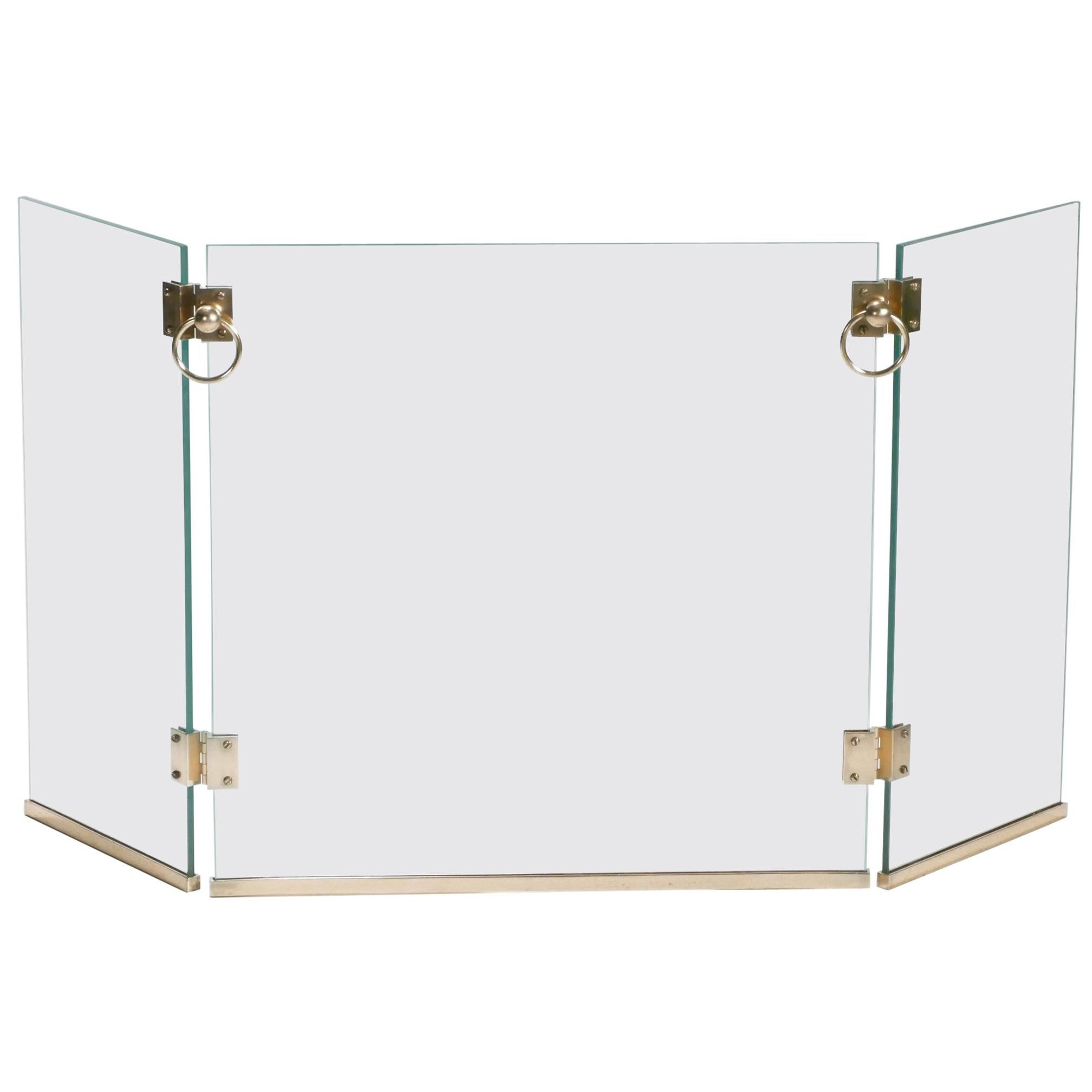 Rare Brass Fire Screen by Jacques Adnet, 1940s