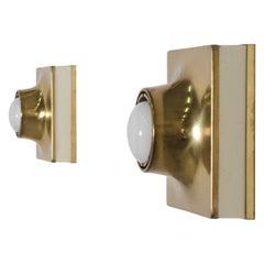 Rare brass Italian Flush Mount / Sconce, 1970s