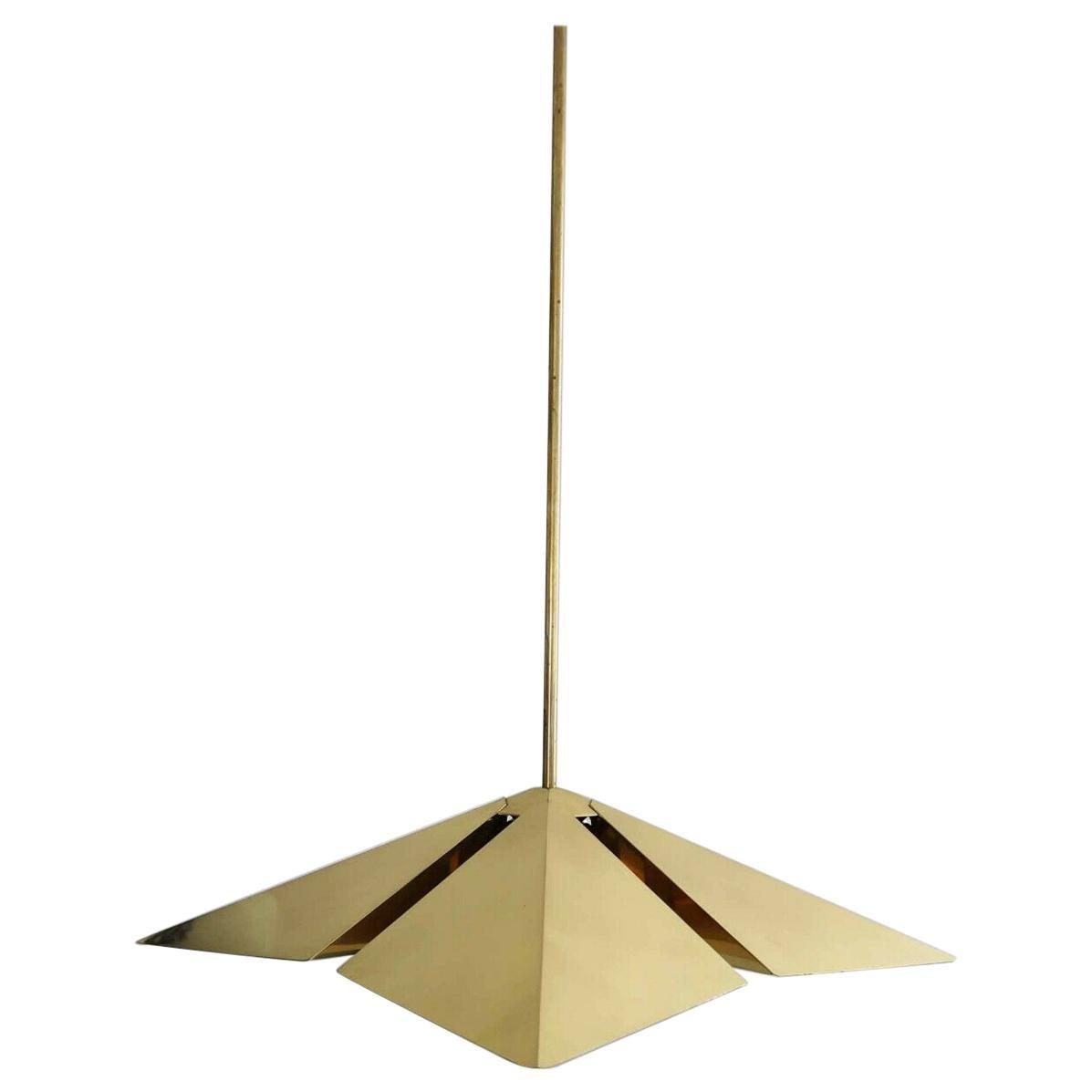 Rare Brass Pendant Lamp by Vereinigte Werkstätten München, Germany, 1970s