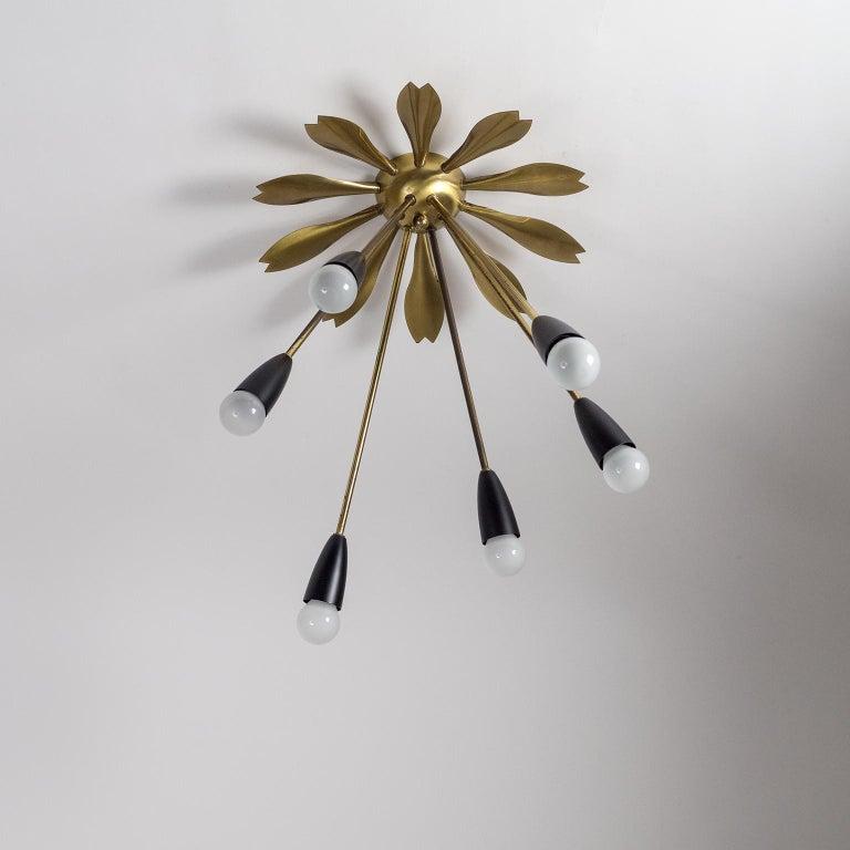 Rare Brass Sunburst Flush Mount, 1950s For Sale 2