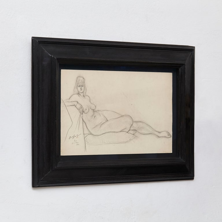 Signed drawing in pencil by Brassaï, 1944.  Framed on an antique frame with museum glass.  Brassaï pseudonym of Gyula Halász; (9 September 1899-8 July 1984) was a Hungarian, French photographer, sculptor, medalist, writer, and filmmaker who rose
