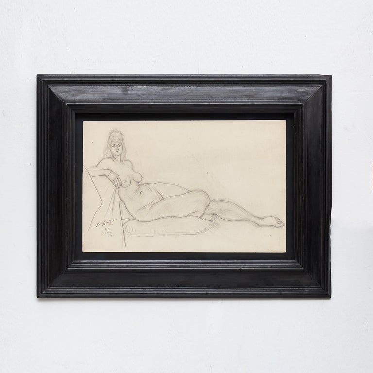 Mid-Century Modern Rare Brassai Woman Nude Pencil Drawing, 1944 For Sale