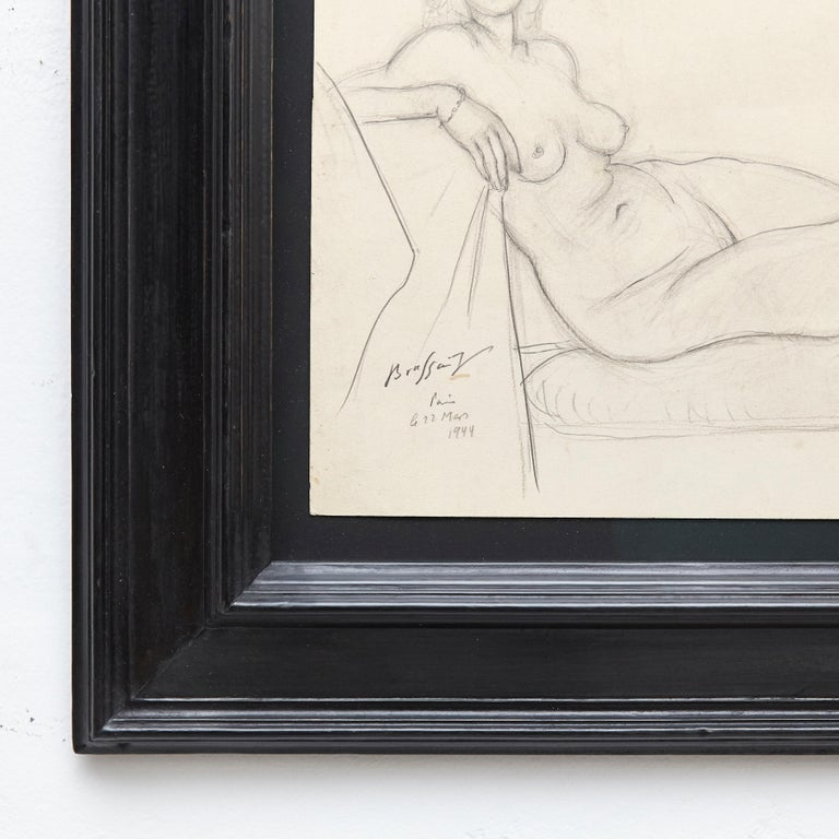 French Rare Brassai Woman Nude Pencil Drawing, 1944 For Sale