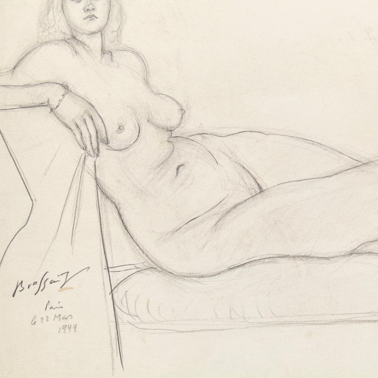Rare Brassai Woman Nude Pencil Drawing, 1944 In Good Condition For Sale In Barcelona, Barcelona