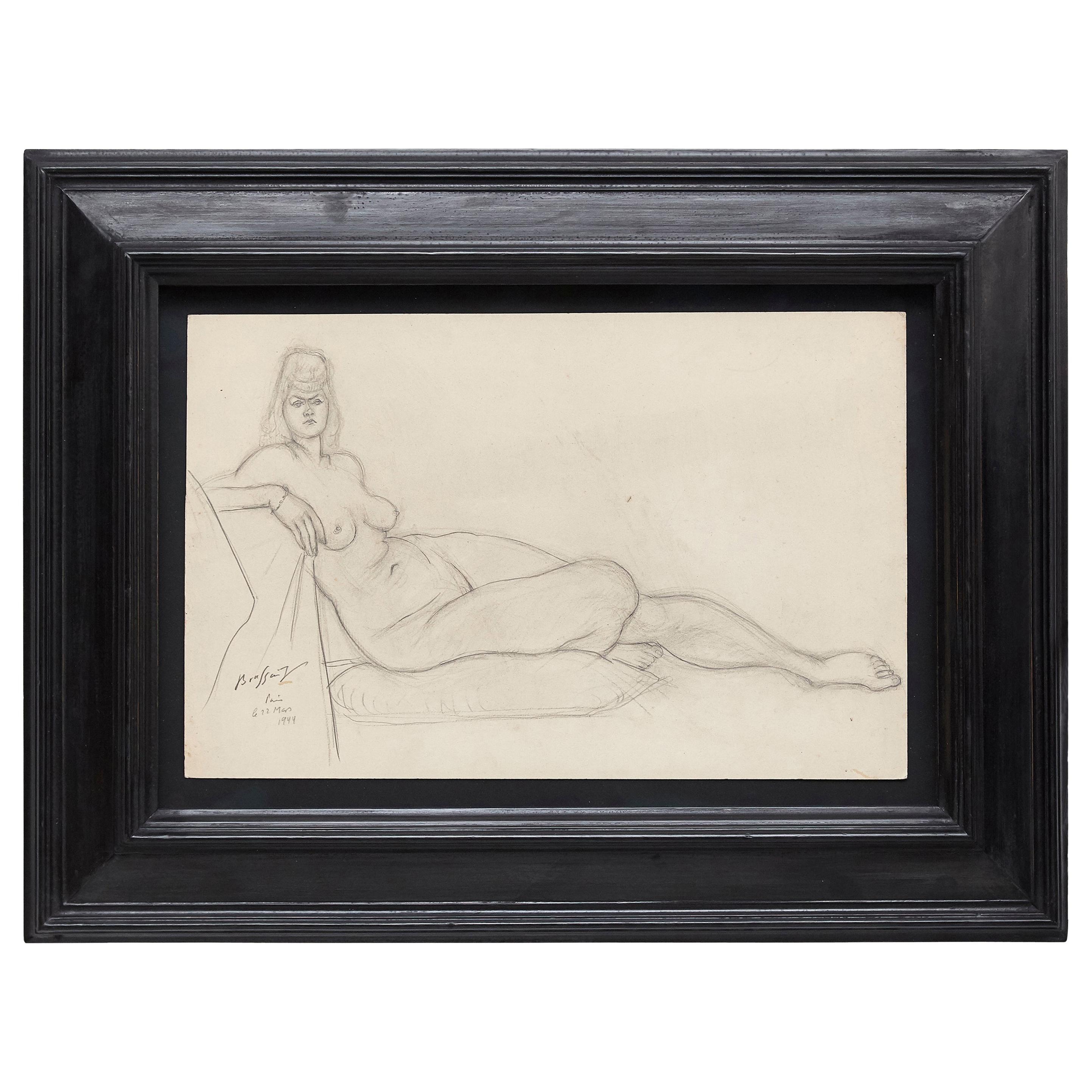 Rare Brassai Woman Nude Pencil Drawing, 1944