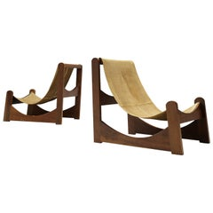 Rare Brazilian Lounge Chairs in Leather and Walnut