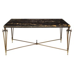 Rare Bronze and Iron Coffee Table Design Inspired by Gilbert Poillerat
