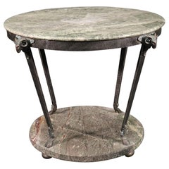 Rare Bronze and Marble French Regency Style Round Center Table