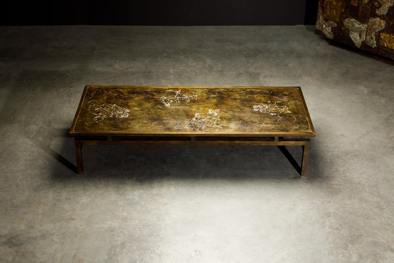 Rare Bronze 'Classical' Cocktail Table by Philip & Kelvin LaVerne, 1960s, Signed For Sale 4