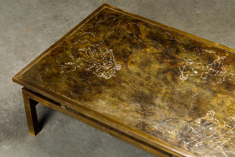 Rare Bronze 'Classical' Cocktail Table by Philip & Kelvin LaVerne, 1960s, Signed For Sale 9