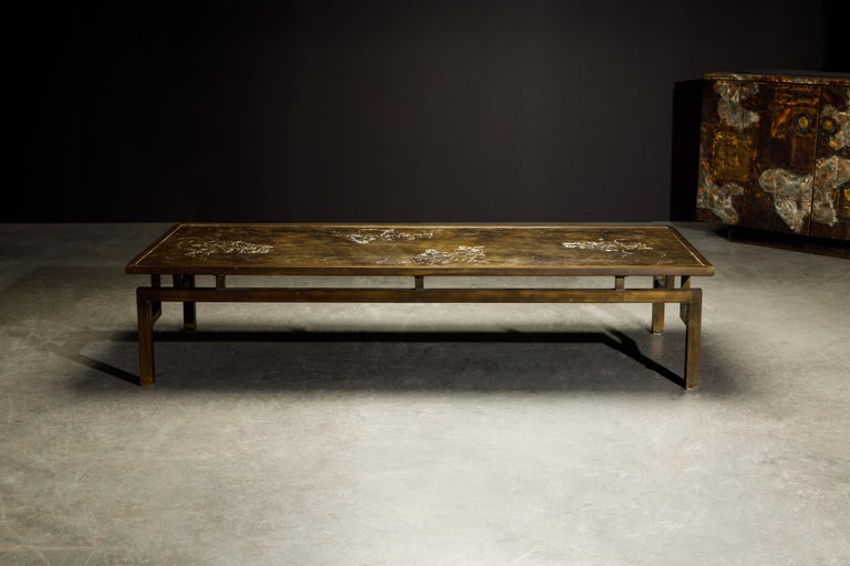 Mid-Century Modern Rare Bronze 'Classical' Cocktail Table by Philip & Kelvin LaVerne, 1960s, Signed For Sale