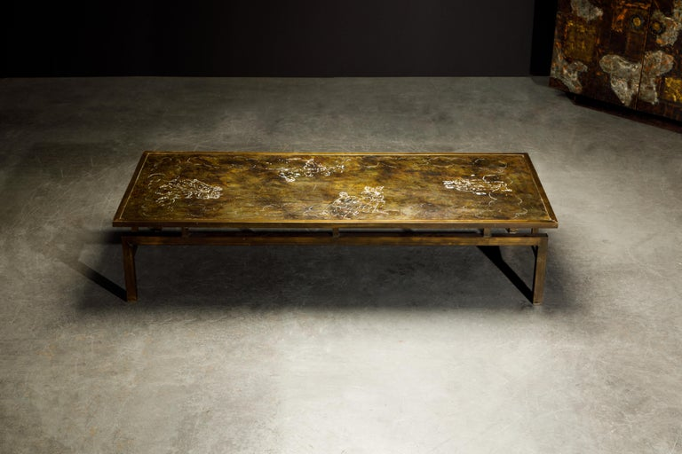 American Rare Bronze 'Classical' Cocktail Table by Philip & Kelvin LaVerne, 1960s, Signed For Sale