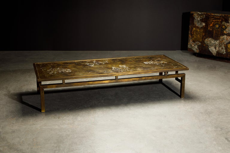 Etched Rare Bronze 'Classical' Cocktail Table by Philip & Kelvin LaVerne, 1960s, Signed For Sale