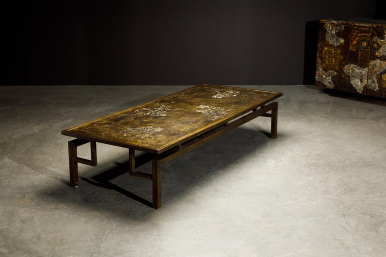 Mid-20th Century Rare Bronze 'Classical' Cocktail Table by Philip & Kelvin LaVerne, 1960s, Signed For Sale