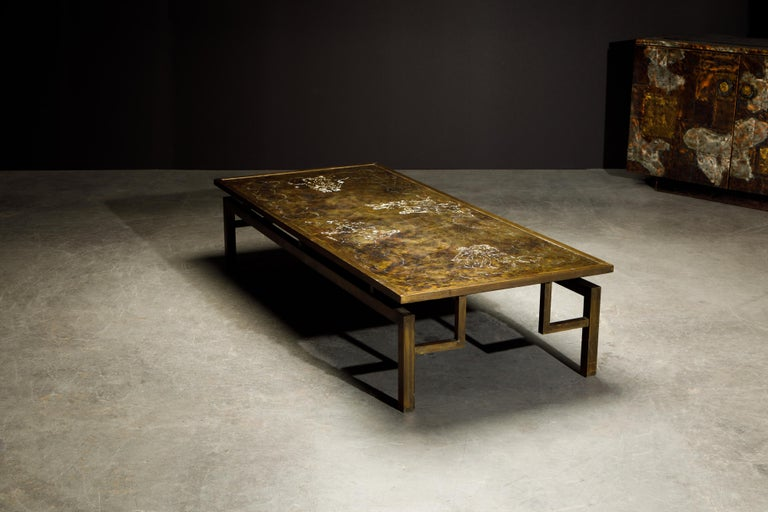 Rare Bronze 'Classical' Cocktail Table by Philip & Kelvin LaVerne, 1960s, Signed For Sale 2
