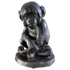 Rare Bronze Glazed Terracotta Chimpanzee Sculpture by Johannes Robert Korn, 1895