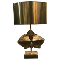 "Rare Bronze ""Lotus"" Table Lamp by Maison Charles"