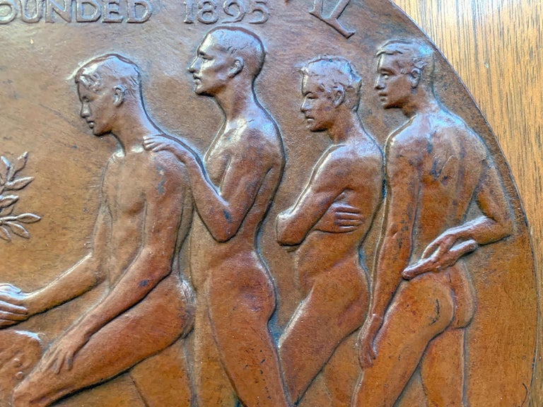 Art Deco Rare Bronze Plaque Celebrating Penn Relays with Male Nudes, by Tait McKenzie For Sale