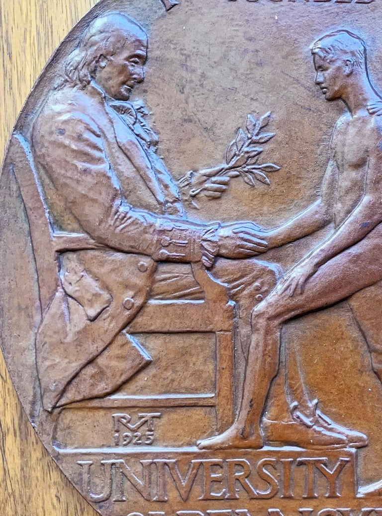 American Rare Bronze Plaque Celebrating Penn Relays with Male Nudes, by Tait McKenzie For Sale