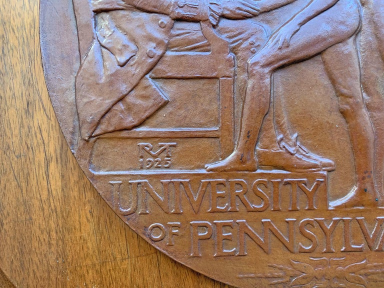 Cast Rare Bronze Plaque Celebrating Penn Relays with Male Nudes, by Tait McKenzie For Sale