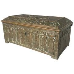Rare Bronze Sculptural Casket / Box Panels with Historical Roman Empire Scenes