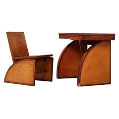 Rare Brown Saltman Desk with Chair