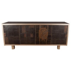 Rare Brutalist Ceramic and Metal Sideboard