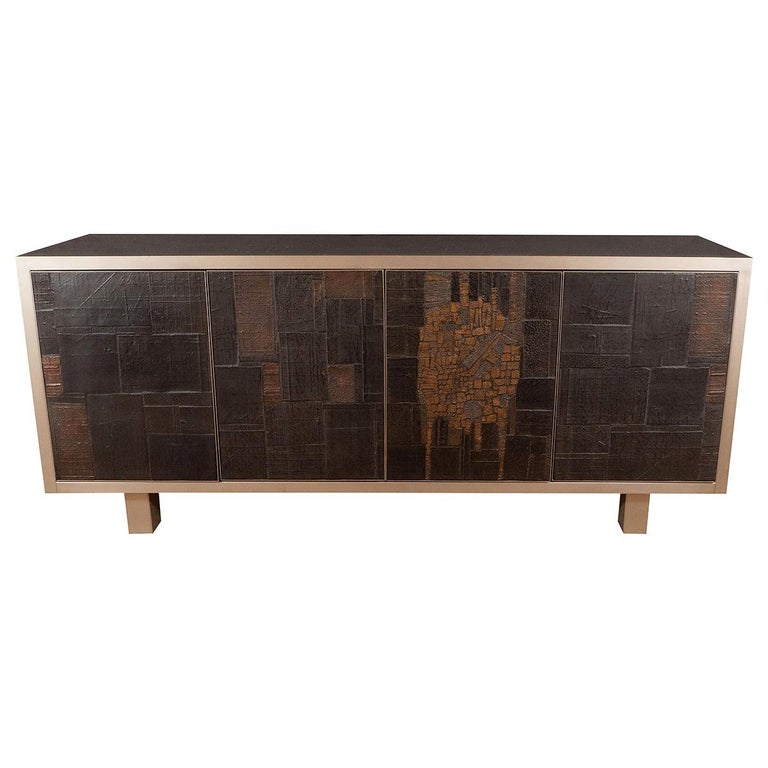 Rare Brutalist Ceramic and Metal Sideboard For Sale