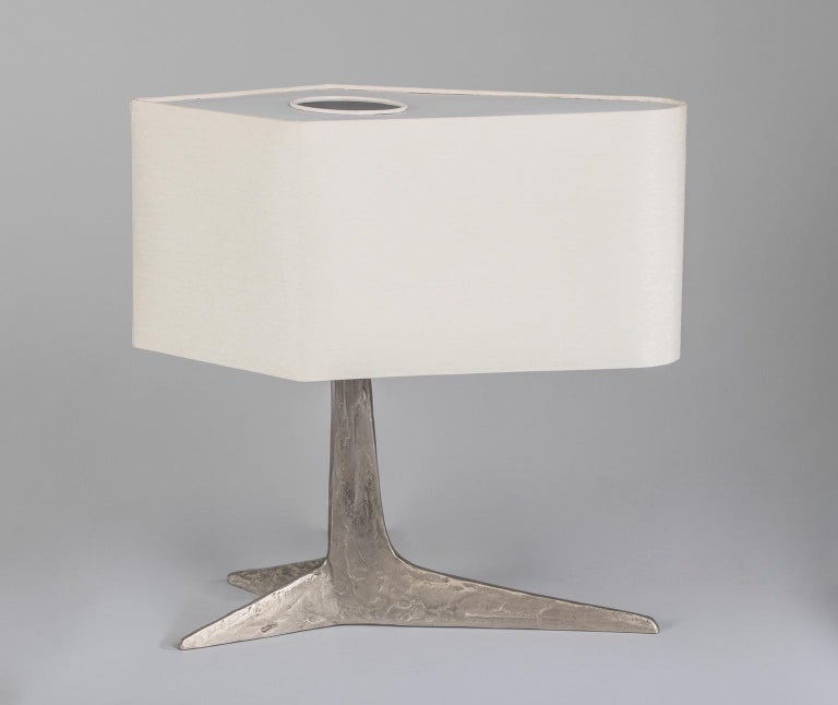 Mid-Century Modern Rare Brutalist Clawfoot Nickeled Bronze Lamp by Felix Agostini, France 1970's For Sale