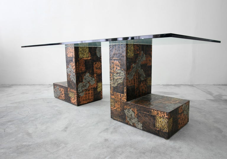 20th Century Rare Brutalist Metal Patchwork Pedestal Dining Table by Paul Evans For Sale