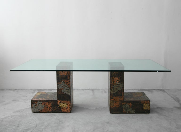 Brass Rare Brutalist Metal Patchwork Pedestal Dining Table by Paul Evans For Sale