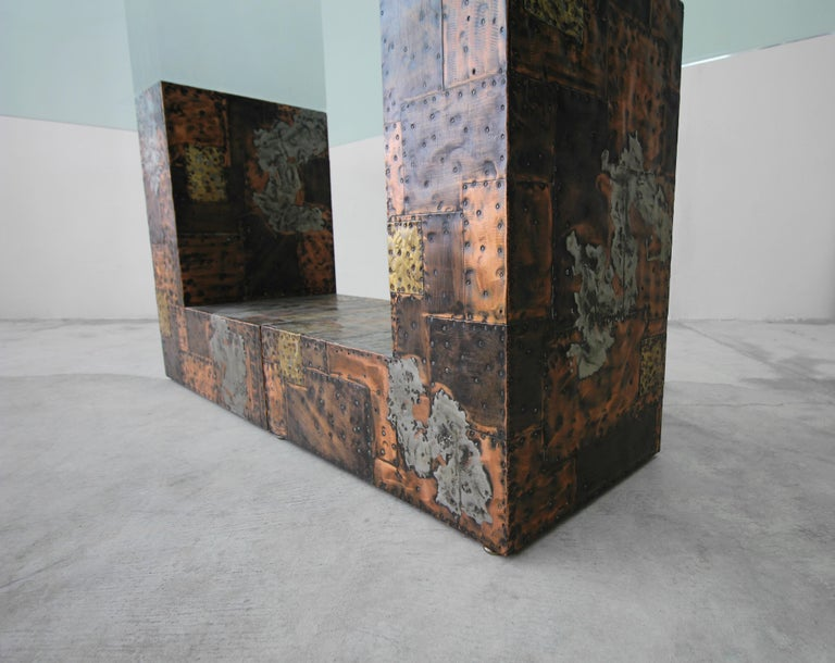 Rare Brutalist Metal Patchwork Pedestal Dining Table by Paul Evans For Sale 1