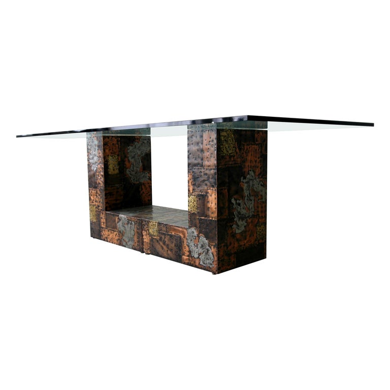 Rare Brutalist Metal Patchwork Pedestal Dining Table by Paul Evans For Sale