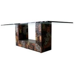 Rare Brutalist Metal Patchwork Pedestal Dining Table by Paul Evans