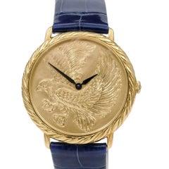 Rare Buccellati 18 Karat Yellow Gold Eagle Engraved Audachron Watch