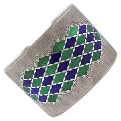 Rare Buccellati Enamel Silver Wide Bracelet