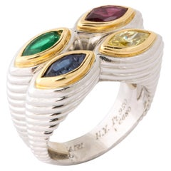 Rare Bulgari Platinum, Gold, Mulit-Gem and Yellow Diamond Ring