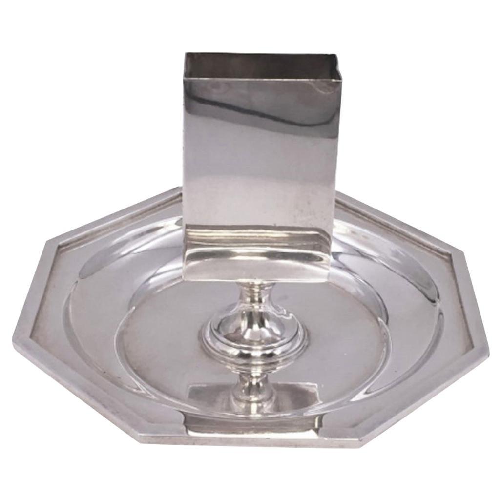 Rare Bulgari Sterling Silver Chamberstick/ Candlestick with Hexagonal Base