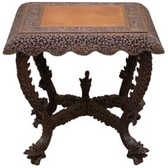 Rare Burmese circa 1880 Anglo Indian Hardwood Square Centre Occasional Table