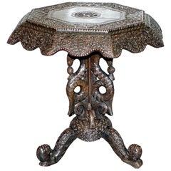 Rare Burmese circa 1880 Anglo-Indian Hardwood Tilt-Top Centre Occasional Table