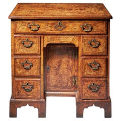 Rare Burr Walnut George II 18th Century Kneehole Desk, circa 1730-1740, England