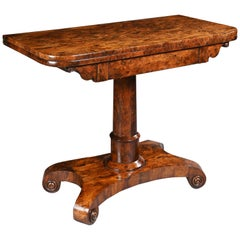 Rare Burr Yew Wood Late Regency Card Table