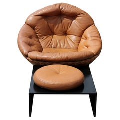 Rare Buttoned Leather Lounge Chair by Illum Wikkelso for Ryesberg with Ottoman