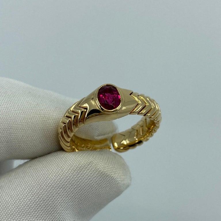 Rare Bvlgari Pink Tourmaline Serpenti Oval Cut 18 Karat Yellow Gold Flex Ring For Sale 1